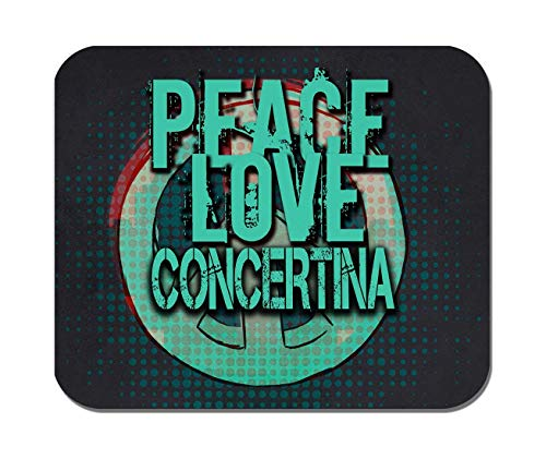 Makoroni - Peace Love Concertina Music- Non-Slip Rubber - Computer, Gaming, Office Mousepad