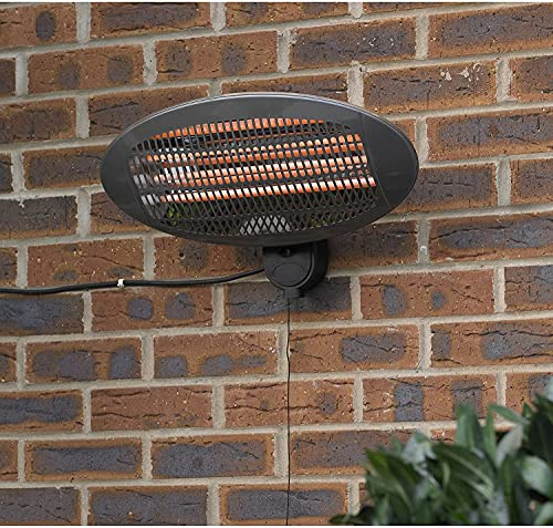 Electric Wall Mounted Outdoor Garden Patio Heater, 2000w Electric IPX4 Heater, Indoor or Outdoor Use, By Lazy Style