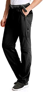 Toomett Hiking Pants Mens,Zip Off Convertible Outdoor UPF 50+ Quick Dry Lightweight Fishing Cargo Pants with Belt