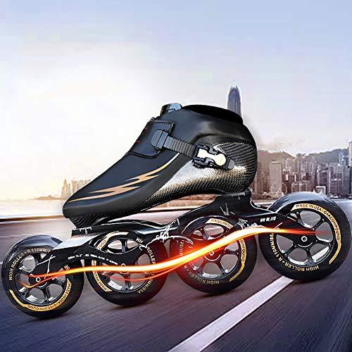 YZJYB Adult Geschwindigkeit Inline Skates Professional Carbon Fiber Rollerblade FÜR Kinder Inline Speed Skates 4 * 90/100/110 mm Wheels,32