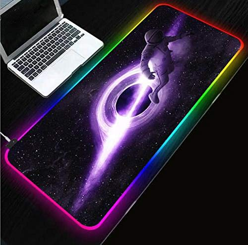 Mouse Pads Star Astronaut Extended Led Large Gaming RGB Mouse Pad Purple Water Resistant Cloth Computer Game Mat 24x12x0.15 inch