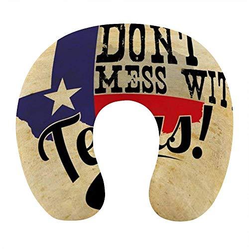 Transpirable Cómodo No ensucie con Texas Almohada para el Cuello Vintage Almohada de Viaje en Forma de U de Espuma viscoelástica Suave para avión Oficina en casa Coche