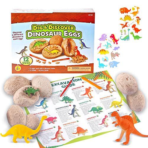 Ulikey Dinosaur Egg Toy Ausgraben, Dino Eier Dig Kit, Dinosaur Figuren Ausgrabungsset Archäologie Dino Ei Ausgraben Dinosaurier Party Favors für Jungen Mädchen Kinder Geschenk