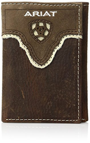 Ariat Men's Distressed Shield Inlay Trifold Western Wallet, Brown, One Size