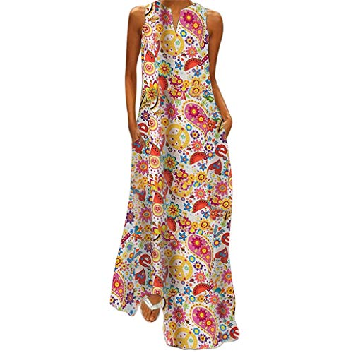 Vovotrade Dames bustier jurken met bloemen print lange zomerjurk strandjurken maxikleding cocktailjurk by