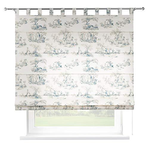 Dekoria Raffrollo Verona ohne Bohren Blickdicht Faltvorhang Raffgardine Wohnzimmer Schlafzimmer Kinderzimmer 130 × 170 cm Creme- blau Raffrollos auf Maß maßanfertigung möglich