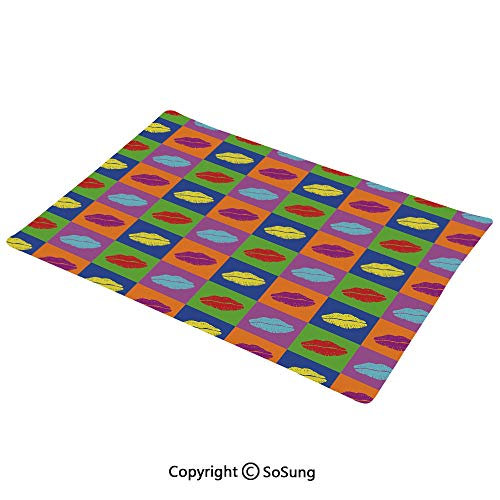 Kiss Placemats Set of 6,Pop Art Style Lipstick Kisses on Vibrant Colored Squares 60s Style Seductive Romantic Washable Fabric Place mats Table Mats, 12x18 inch,for Home Kitchen Office,Multicolor
