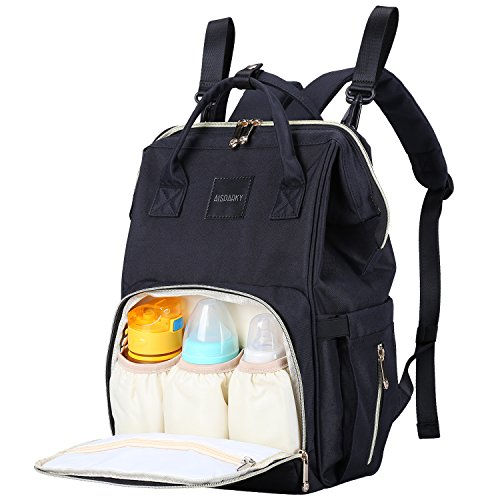 Diaper Bag Backpack Multifunction Travel Backpack Maternity Baby Nappy Changing Bags for Mom/Dad with Baby Care,Large Capacity,Waterproof,Stroller Straps and Stylish (Black)