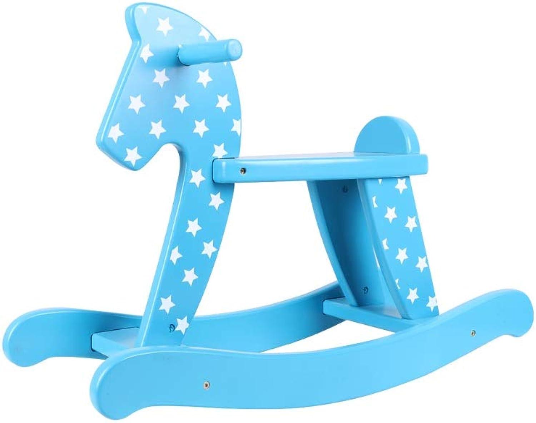 Schaukelpferd Hlzerne Kindfahrt auf Spielzeug mit der rutschfesten Schallwand geeignet für Kinder im Alter von 1-3, die zuhause und drauen verfügbar sind xiuyun (Farbe   Blau)