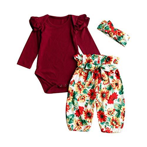 0-18 Meses,SO-buts Recién Nacido Bebé Niña Mameluco De La Colmena Tops Girasol Pantalones Florales Bowknot Diadema Conjuntos Trajes Chándal De Otoño (Vino,6-12 meses)