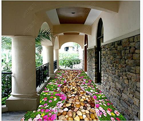 Pintura de suelo 3D Mural Papel tapiz fotográfico Flor Adoquín Corredor Jardín Sala de estar Baño PVC Azulejos impermeables Pegatinas Piso 400x280cm