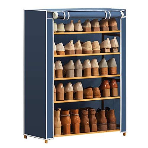 Zapatero de almacenamiento simple y práctico, compacto zapatero de cinco pisos, organizador de zapatos con cubierta de tela Oxford, apto para dormitorios familiares (color: azul)