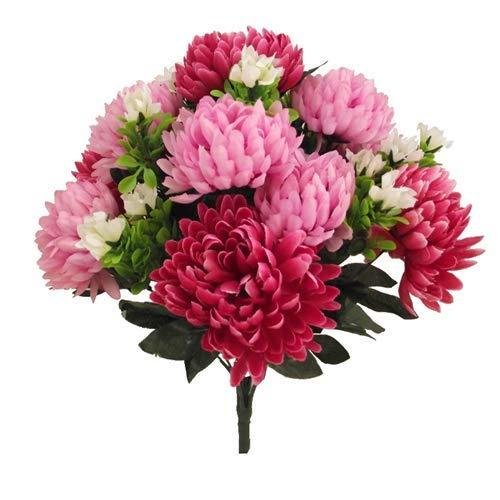 Arbusto de crisantemo artificial de seda con 12 cabezas de flores grandes, 43 cm