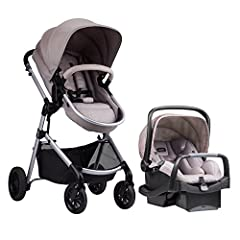 FLEXIBLE INFANT TRAVEL SYSTEM: The Evenflo Pivot Modular Travel System is a car seat and stroller combo featuring the SafeMax Rear-Facing Infant Car Seat and SafeZone Base with anti-rebound bar, infused with parent-and child-friendly accessories VERS...