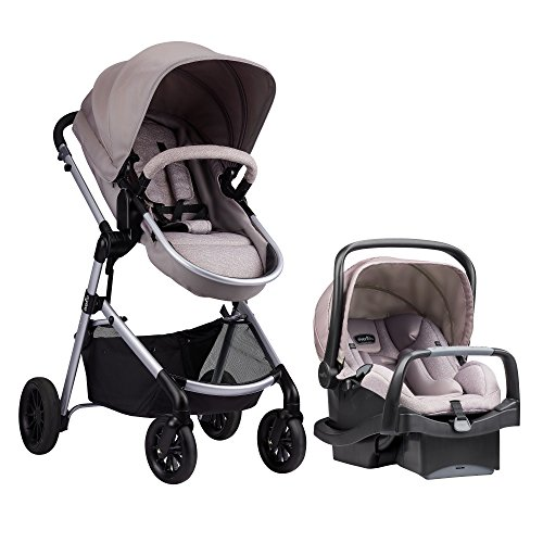 Evenflo Pivot Modular Travel System With SafeMax Car Seat, Sandstone Beige