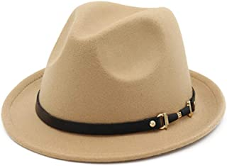Hats and Caps European Top Hat for Men Women Wool Fedora Narrow Side Leather Belt Fedora Hat Punk Band British Hat Godfather Church Wide Hat Jazz Hat (Color : Beige, Size : 56-58CM)