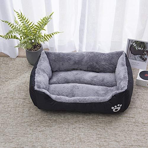 Cama para Perros de Felpa Suave y cálida Cama para Perros Cama para Dormir mullida sofá para Mascotas Perros pequeños y medianos de Varios tamaños -Negro_70 * 55 CM