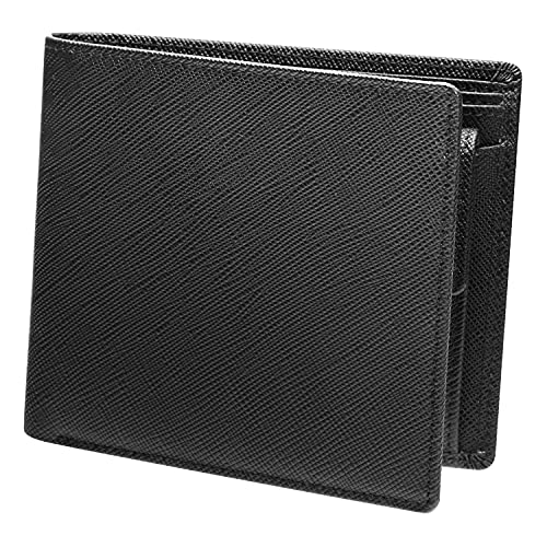 [AYUMA] 財布 メンズ 二つ折り 本革 レザー 小銭入れ2室 札入れ3室 仕切りあり ブラック/ブラック