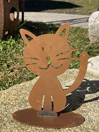Figura decorativa de familia de Doodle en placa de suelo para elegir jardín (metal, gatito)