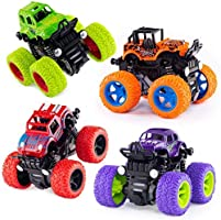 Farraige® 4 Pack 4WD Monster Truck Cars,Push and Go Toy Trucks Friction Powered Cars 4 Wheel Drive Vehicles for Toddlers...