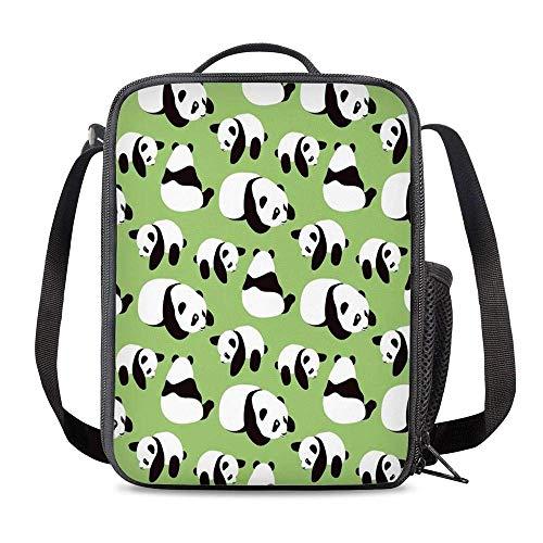 Bolsa Térmica Comida Bolsas de Almuerzo caja porta con Aislamiento Bolso de Mano Panda de dibujos animados verde Impermeable Fiambrera Isotermica Aislado Térmico Organizador del Almuerzo
