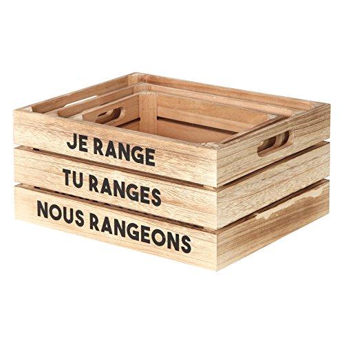 THE HOME DECO FACTORY HD4682 Cagette de Rangement-3 pcs, Bois, Beige-Noir, 32 x 25 x 15 cm