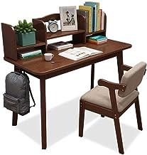 Solid Wood Desk, Student Study Table Simple Computer Desk Home Bedroom Children Desk and Bookshelf Combination Writing Desk