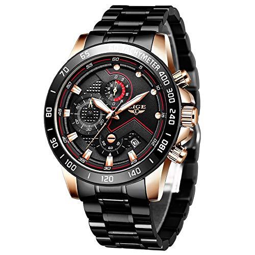 LIGE Heren Horloges Elegante RVS Chronograaf Analoge Quartz Polshorloge Goud Waterdichte Multifunctionele Horloge Mode Casual Horloge voor Mannen.