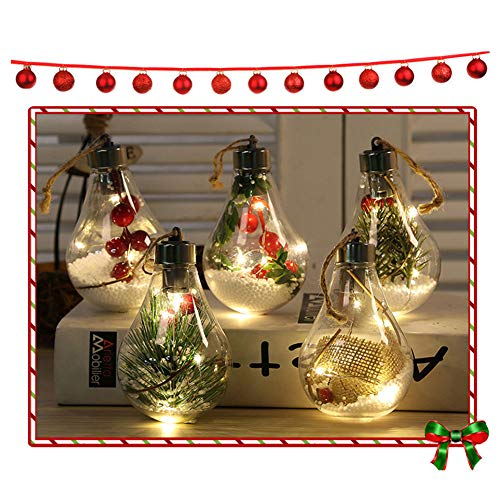 KELUNIS LED Transparent Christmas Ball Lights, Christmas Tree Ornament Pendant Built-in Button Battery Plastic Bulb for Home Party Wedding Decoration