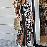 Vestido de camisa de manga larga para mujer Otoño Impreso Vestidos largos Cuello de rechazo suelto Sundress Vestidos de fiesta (Color : Leopard, Size : L)