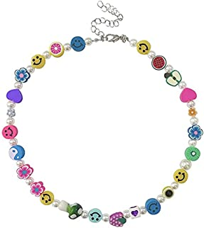 Smiley Face Pearl Necklace for Women Cute Flower Fruit Colorful Beaded Choker Necklaces Y2k Teen Girls Jewelry Gift