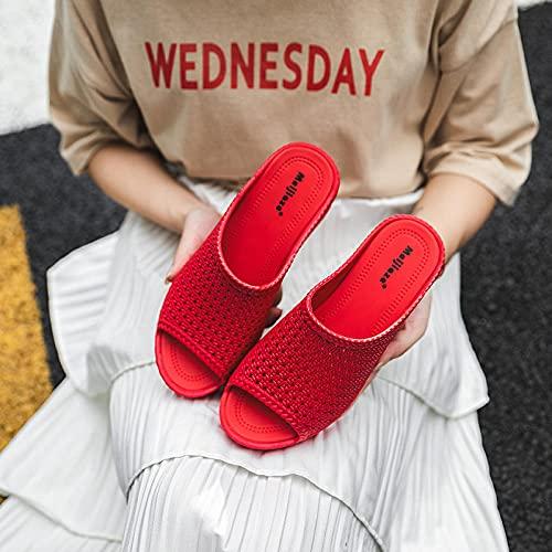 WENHUA Zapatillas de Goma para Hombre, Shower Slides, Pendiente de Engrosamiento Femenino con Zapatos de Playa, Red_40