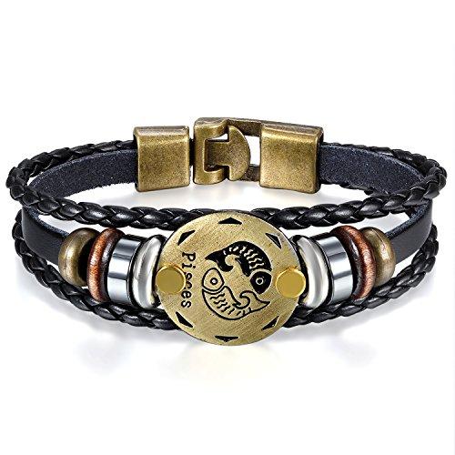 JewelryWe Schmuck Herren Damen Fische Armband, 12 Tierkreis Sternzeichen Horoskop Charms Druckknopf Armreif, Leder Legierung, schwarz