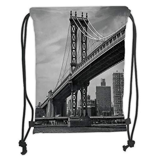 Fevthmii Rucksack mit Kordelzug, New York, Bridge of NYC, Vintage, East Hudson, Fluss, USA, Reise, Stadt, Foto, Kunstdruck, grauer weicher Satin, 5 Liter Kapazität, verstellbarer Kordelverschluss