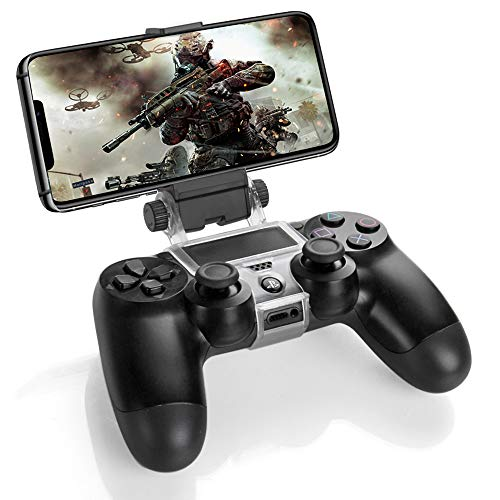 TNP PS4 Controller Phone Clip Holder Clamp Mount Bracket for Sony PlayStation 4 PS4 Dual Shock Wireless Controller [Playstation 4] for iPhone 11 Pro, 11 Pro Max, 11, Xs, Xs Max, X, 8 Plus, 8, 7
