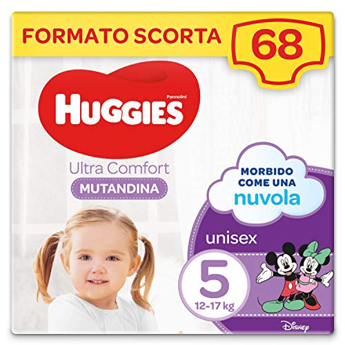 Huggies Ultra Comfort Pannolino Mutandina, Taglia 5/12-17 Kg, Confezione da 68 Pannolini, 34 x 2