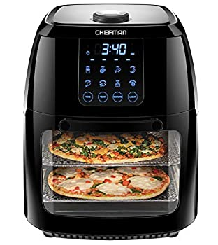 Chefman 6.3 Quart Digital Air Fryer+ Rotisserie Dehydrator Convection Oven 8 Touch Screen Presets Fry Roast Dehydrate & Bake BPA-Free Auto Shutoff Accessories Included XL Family Size Black