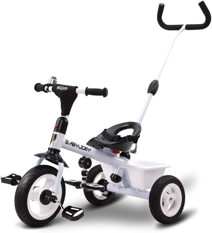 disfrutando de sus compras JYY Triciclo de bebé con Mango Mango Mango de Empuje Triciclo para Niños pequeños de 2 a 5 años con Compartimiento de Almacenamiento con Pedal Plegable,blanco-74  64cm  edición limitada