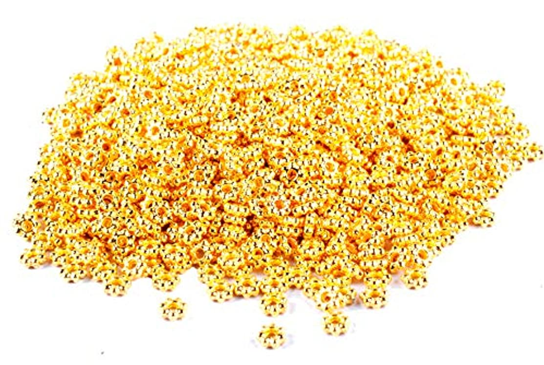Femitu 1000PCS of Gold plated metal daisy spacer beads 4mm
