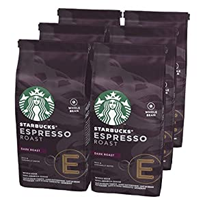 Starbucks 12411370 Espresso Dark Roast Café de Grano Entero de Tostado Intenso, 6 x Bolsa de 200g