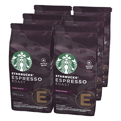 STARBUCKS Espresso Roast Dark Roast Whole Bean Coffee, 200 g (Pack of 6)