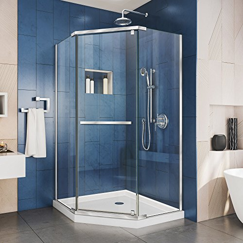 DreamLine Prism 36 in. x 74 3/4 in. Frameless Neo-Angle Pivot Shower Enclosure in Chrome with White Base Kit, DL-6030-01