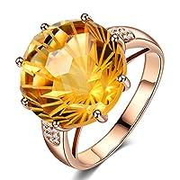 Kardyアメージング女性のソリッド14Kローズゴールドナチュラルシトリン宝石プロングダイヤモンドの結婚婚約指輪リング