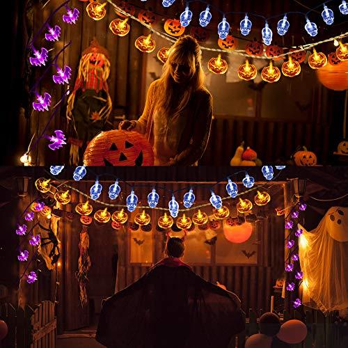 Qxmcov Luci della Festa di Halloween, 3 Pezzi 30 LED Halloween Catena Luminosa Luce Decorative, Zucche Arancioni, Pipistrelli Viola, Fantasmi Bianchi, per Halloween, Festa Cosplay e Casa Dell'Orrore