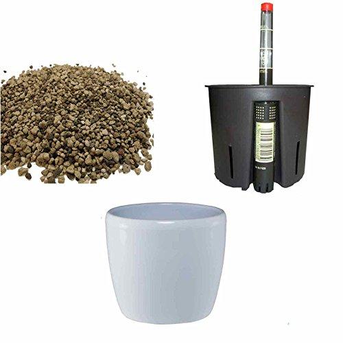 Set4 Blumentopf Venus 13/12 weiss Ø 16cm H 14cm Bewässerung für Erdpflanzen