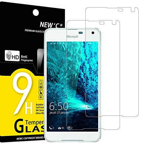 NEW'C 2 Stück, Schutzfolie Panzerglas für Nokia Microsoft Lumia 650, Frei von Kratzern, 9H Festigkeit, HD Bildschirmschutzfolie, 0.33mm Ultra-klar, Ultrawiderstandsfähig