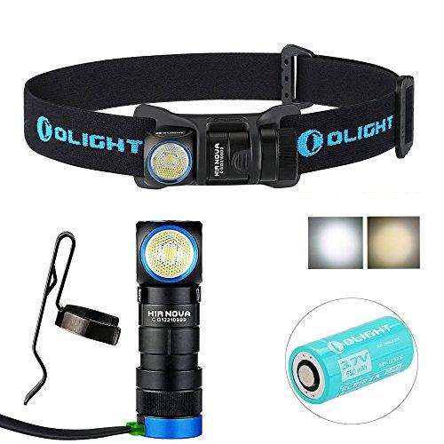 OLIGHT H1R Nova Kopflampe 600 Lumen Cree XM-L2 Kaltes Weiß LED wiederaufladbar und kompakt Scheinwerfer Taschenlampe, mit 650mAhr RCR123A Batterie