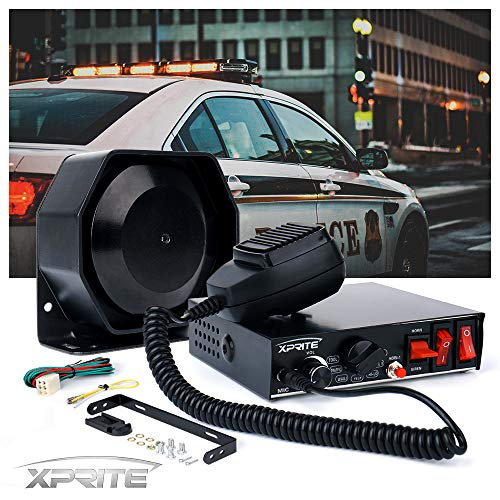 Xprite 8 Tones 200 Watt Emergency Warning Siren Extra Slim Speaker PA System Kit w/ Handheld Microphone & 2 Lights Control Switches