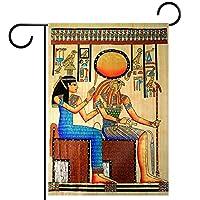 ウェルカムガーデンフラッグ(28x40inch)両面垂直ヤード屋外装飾,エジプトのパピルスホルス