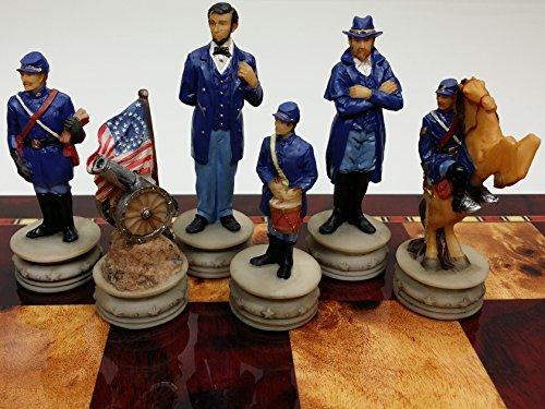 US Generals Civil War Set of Chess Men Pieces Hand Painted - NO BOARD